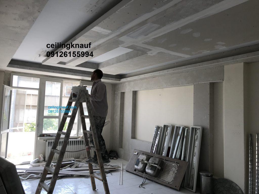 سقف کاذب کناف در حال اجرا