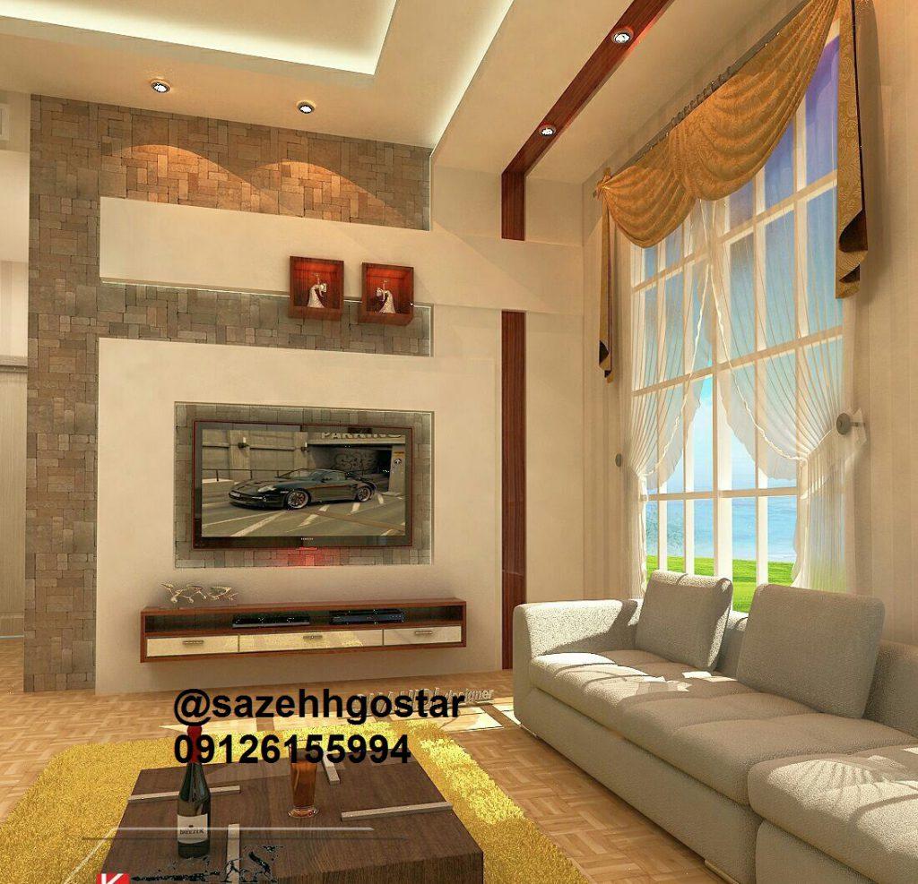 طراحی سقف و جای tv به همراه چوب واحد مسکونی