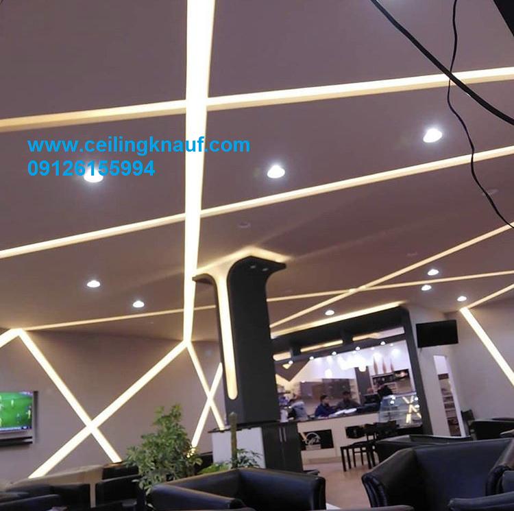 سقف کاذب کناف با نورپردازی رستوران